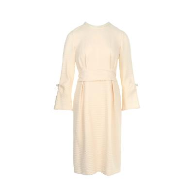 pearl detail pin-tuck dress ivory